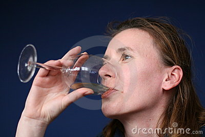 Long Hair Woman Drinking Wine