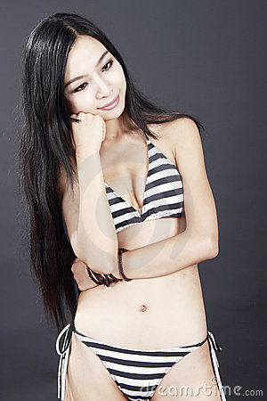 Long-haired bikini girl