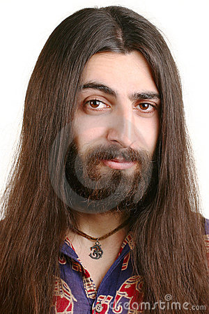 Long-haired hippie man