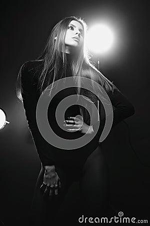 Long haired model in a studio
