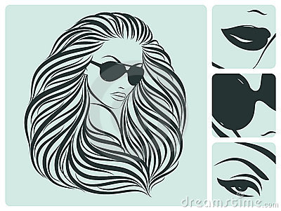 Long hairstyle. Vector illustration.