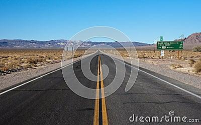 Long highway through desert
