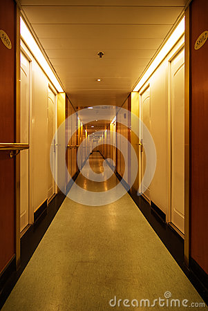 Long hotel hallway
