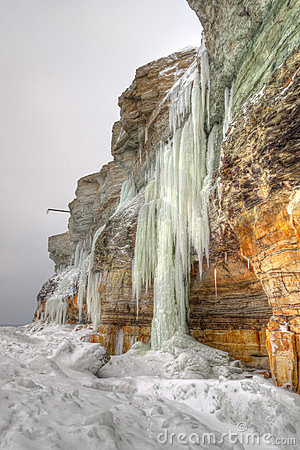 Long icicles on a cliff