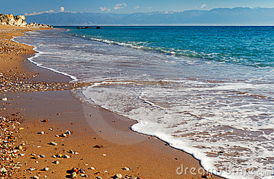Long and inviting sandy beach in the Mediterranean