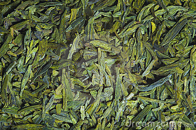 Long leaves green loose  tea,  texture