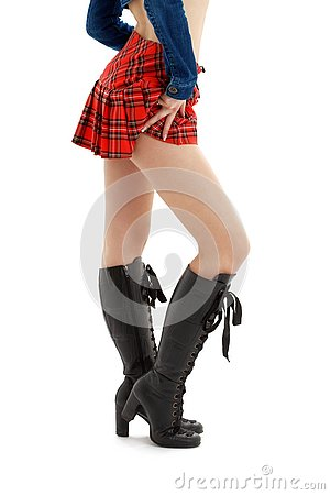 Free Long Legs And Checkered Skirt Stock Image - 3461051