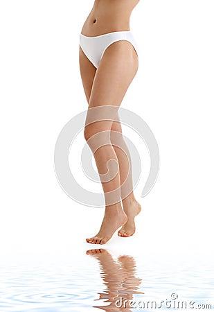 Free Long Legs In Bikini Panties On White Sand Royalty Free Stock Photography - 4719827