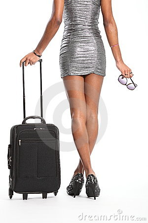 Free Long Legs Of Woman Waiting With Suitcase Royalty Free Stock Image - 18043196