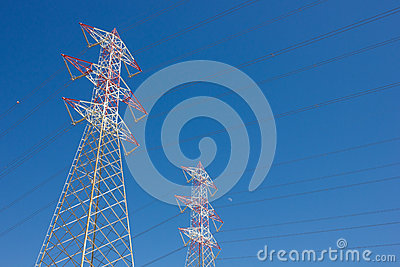 Long lines of power-line tower