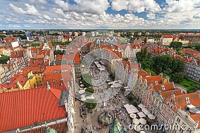 Long market of Gdansk at summer time