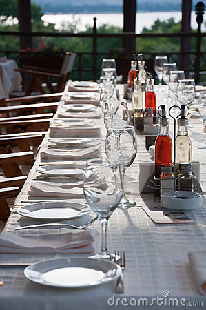 Long party table outdoor
