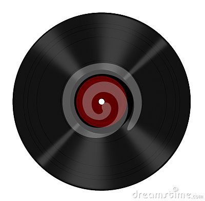 Long play vinyl record isolated - red blank label