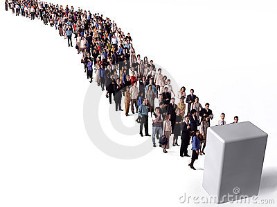 Long queue of people