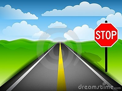 Long Road With Stop Sign