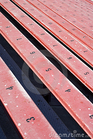 Long row of bleachers