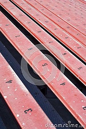 Long row of bleachers