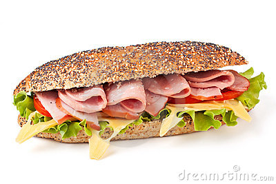 Long sandwich with lettuce, tomatoes and ham