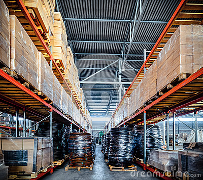 Free Long Shelves With A Variety Of Boxes And Containers. Stock Image - 90199911