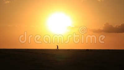 Lonely man on sandy beach under big sun stock video