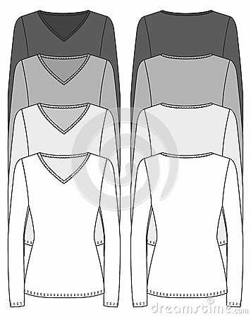 Long-sleeved T-shirt design template
