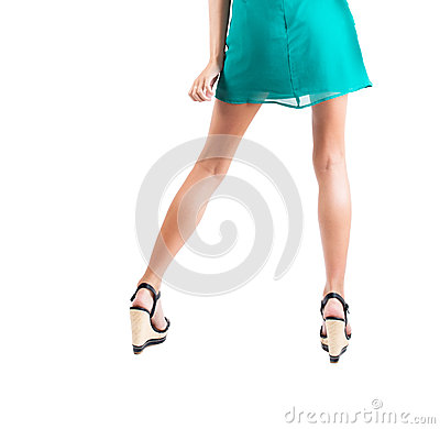 Long Slim Elegant Female Legs With Shoes Isolated On White ...