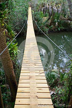 Long suspension walking bridge in tropics