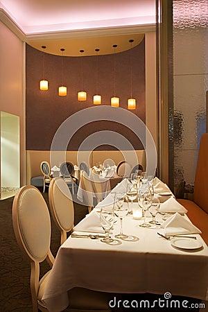 Long table in restaurant.