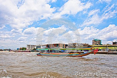Long tail boat down Chao Praya river in Bangkok Editorial Image