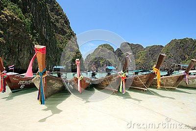 Long Tail Boat at Maya Bay, Krabi, Thailand Editorial Stock Photo