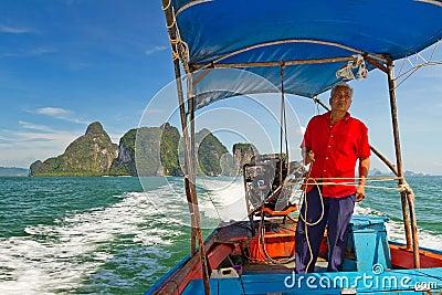 Long tail boat trip in Phang Nga Bay Editorial Stock Image