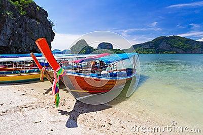 Long tail boats on the coast of Andaman sea