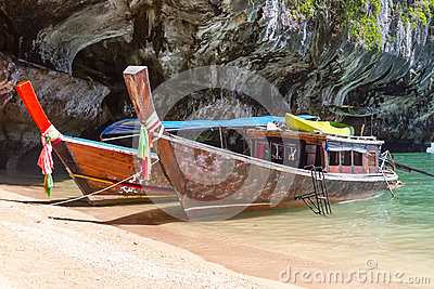 Long Tail Boats On Phang Nga Bay Royalty Free Stock Photo - Image: 29208125