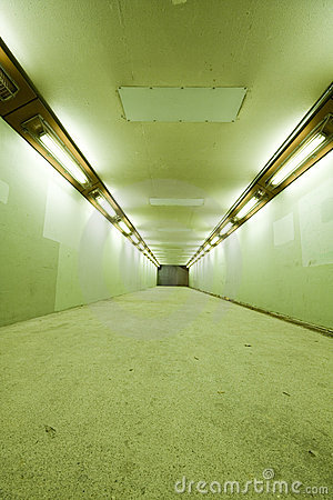 Long tunnel with lamps
