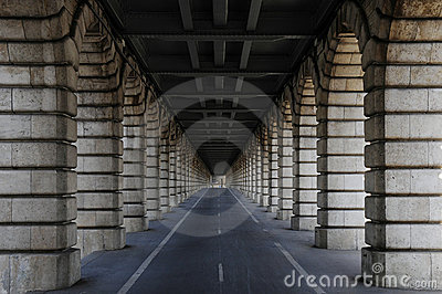 Long tunnel under bridge