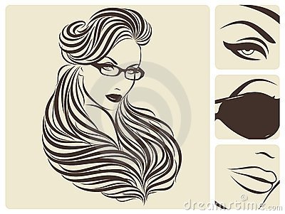 Long wavy hairstyle. Vector illustration.