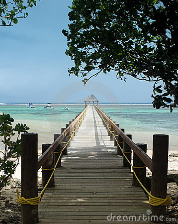 Long wharf over coral bay