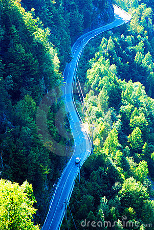Long winding mountain road