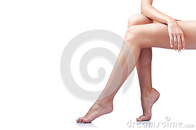 Long woman legs isolated