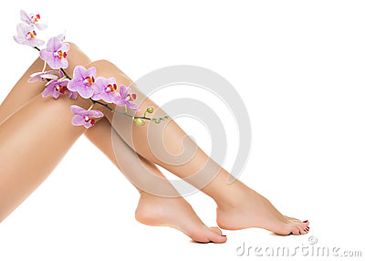 Long woman legs and orchids