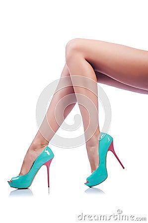 Long woman legs  on white