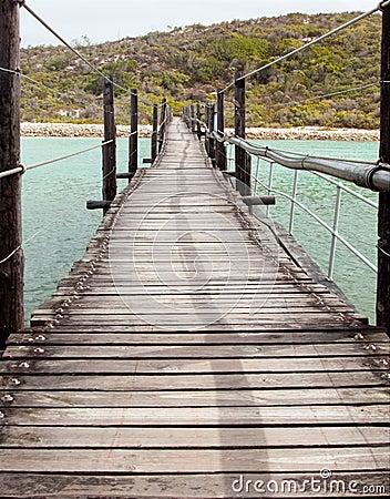 Long Wooden Suspension bridge