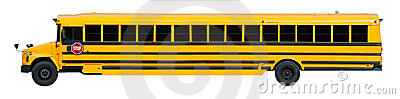 Long Yellow School Bus Banner Isolated on White