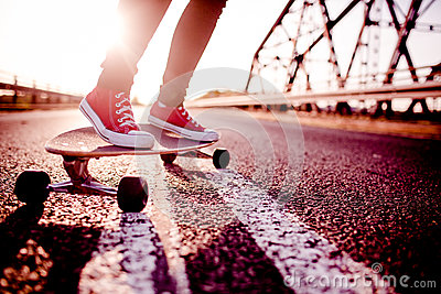 Longboard girl on the street, long board