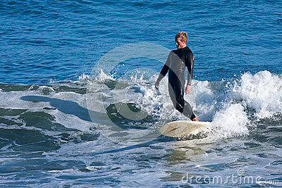 Longboard Surfer Tyler Newell Surfing in Santa Cruz California Editorial Photography