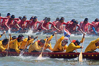 Longboat racing in Pattaya, Thailand Editorial Photography