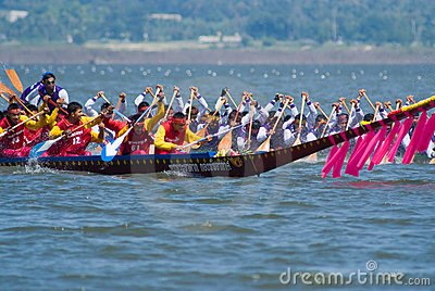 Longboat racing in Pattaya, Thailand Editorial Stock Image
