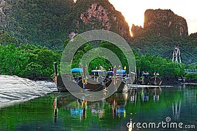Longboats in the Andaman sea