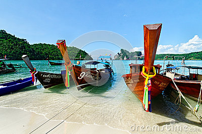 Longboats in Andaman sea Editorial Photo
