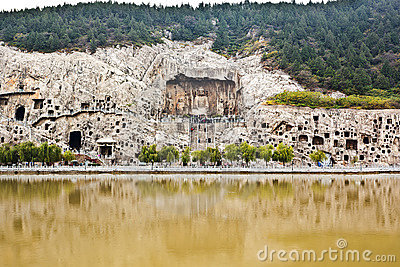 Longmen Grottoes panorama china Editorial Stock Image